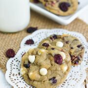 Two cookies on a white mat