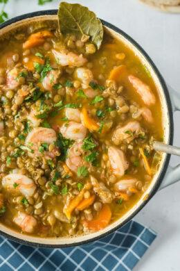 Sopa de Lentejas y Camarones