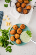 Seven stuffed balls on a blue plate served with dip and fresh cilantro